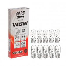 Лампа 12V W5W (W2,1x9,5d) BOX (10 шт.) AVS Vegas A78166S
