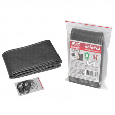 Оплетка на руль перфорированная со шнурком (размер M, черный) (экокожа) AVS GL-302M-B A07750S