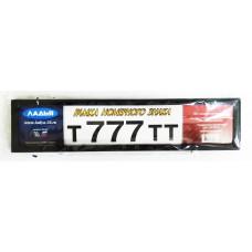 Рамка для номера Ладья 777 нержавейка чёрная